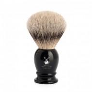 Pennello da Barba in tasso con manico in resina color nero